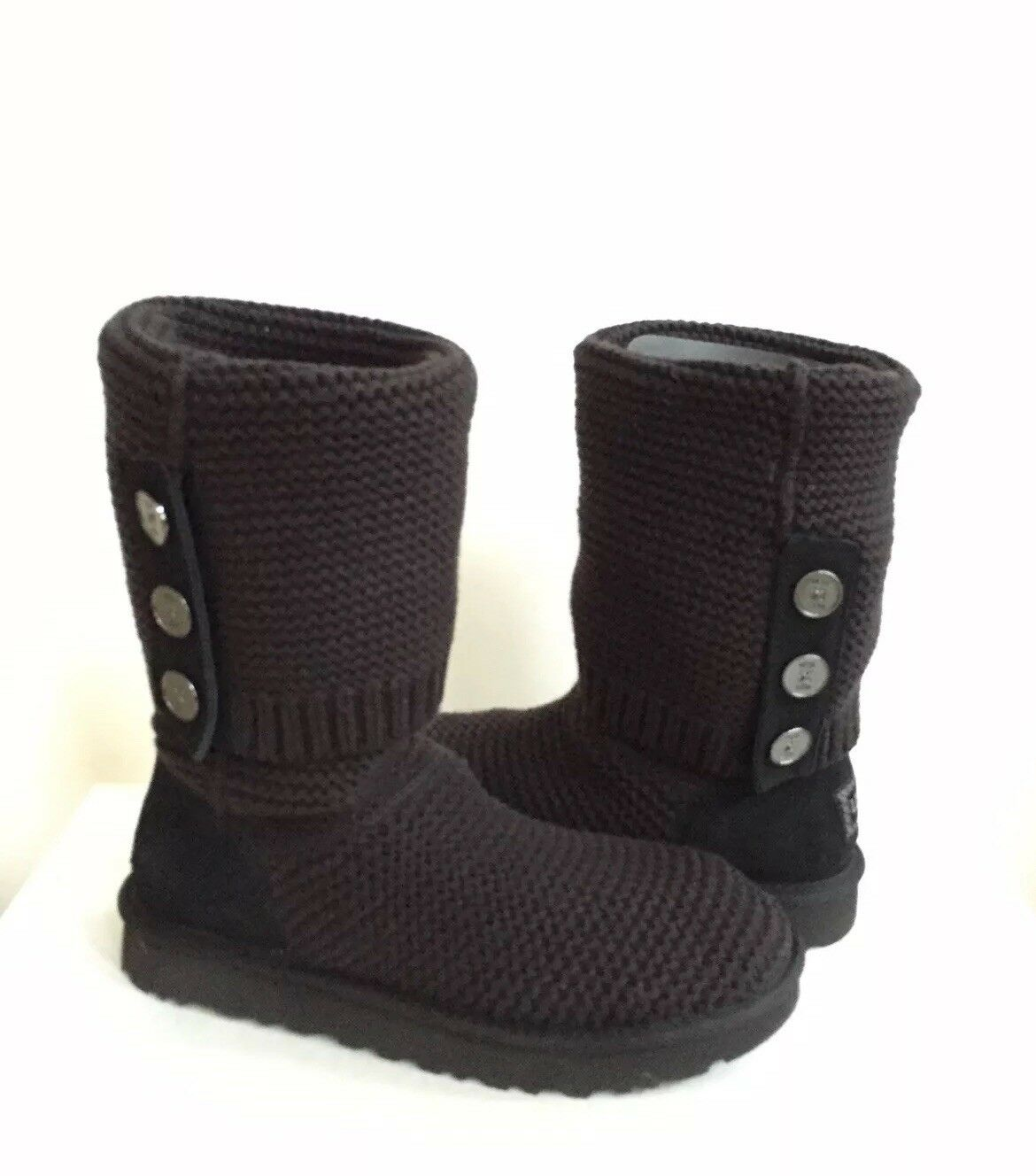UGG CLASSIC CARDY PURL STRICK BLACK BOOT US 10 / EU 41 / UK 8 - NEU