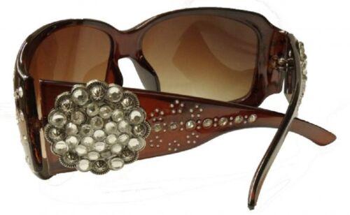 Case Brown Showman Couture Rhinestone Concho Womens Western Sunglasses