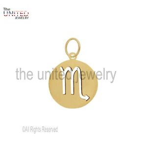 14k Solid Yellow Gold Zodiac Charms Pendant, Gold Charms, Zodiac Horoscope Sign