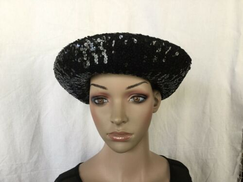 VTG Jay Thorpe NY black Wool Felt Sequin Picture H