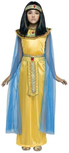 Girls Golden Cleo Halloween Costume Fancy Dress Cleopatra Egyptian Queen Child