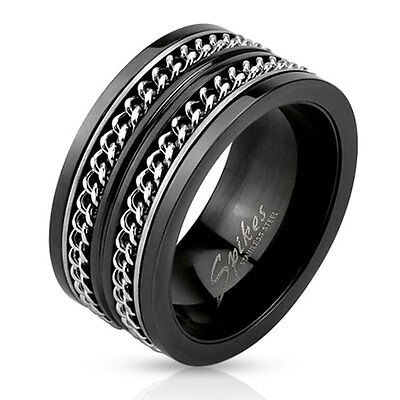 Stainless Steel Men's Black Dual Cuban Link Spinning Band Ring Size 9-14