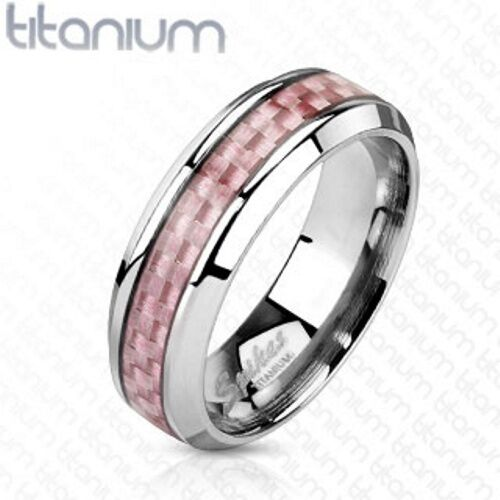Personalized Solid Titanium With Pink Carbon Fiber Inlay - Free Engraving