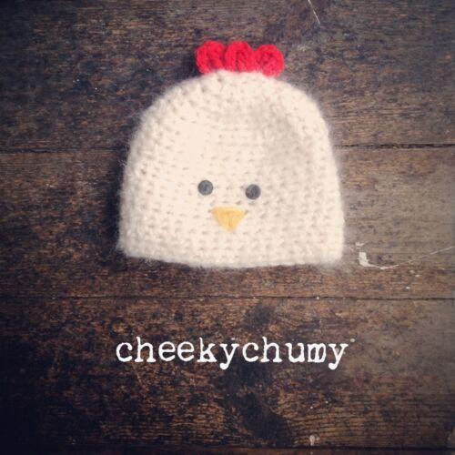 Cheeky Pollo Sombrero de ganchillo. Color Marfil. fotografía foto Prop. recién Nacidos. Baby.