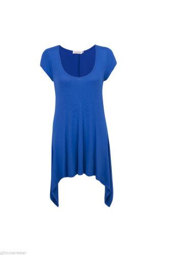New Ladies Women Plain Side Dipped Cap Sleeve Tunic Top Plus Sizes 14-24