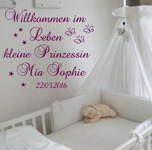 Details zu Wandtattoo Kinderzimmer Babyzimmer Willkommen im  Leben...Prinzessin Wunschnamen