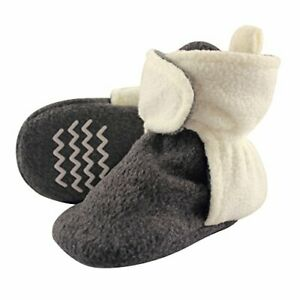 Hudson Baby Unisex Baby Cozy Fleece Booties with Non Skid, Charcoal, Size 0.0 jm