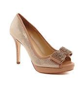Antonio Melani Blayre Almond Latte Leather Bow Peep-toe Pumps Sizes 7&8