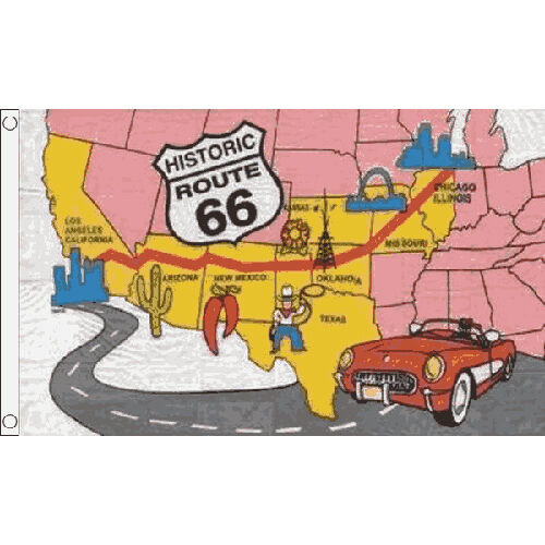 Route 66 Flag 5Ft X 3Ft American Road Trip Usa Banner With 2 Metal Eyelets