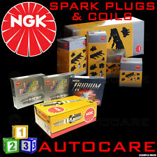 NGK Spark Plugs & Ignition Coil Set BKUR5ET-10 (7553) x4 & U5013 (48040) x4