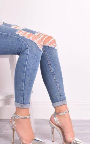 Ladies Womens High Clear Heel Perspex Sandal Ankle Buckle Full Toe Shoe Size 3-8