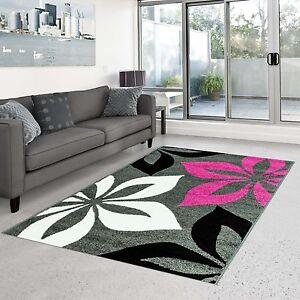 Teppich Modern Design Wohnzimmer Moda Blume grau pink creme schwarz ...