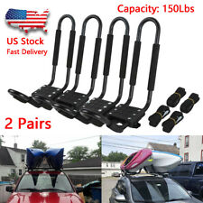 2 Pairs Kayak Carrier Boat Ski Surf Snowboard Roof Mount Car Cross J-Bar Rack