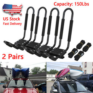 2-Pairs-Kayak-Carrier-Boat-Ski-Surf-Snowboard-Roof-Mount-Car-Cross-J-Bar-Rack