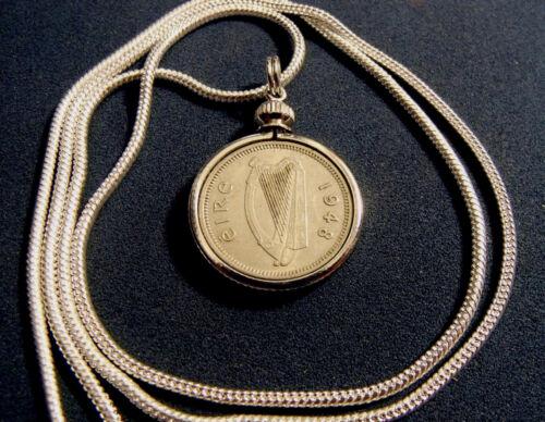 "1948 IRISH RABBIT HARP /& HARE COIN Pendant on an 18k 24/"" White Gold Filled Chain"
