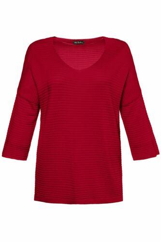 ULLA POPKEN Pullover mit 3//4 Arm überschnitten tiefes rot NEU