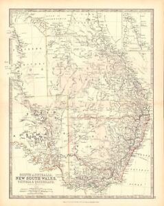 Map Of Australia 1880.Details About 1880 Antique Map South Australia New South Wales Victoria And Queensland
