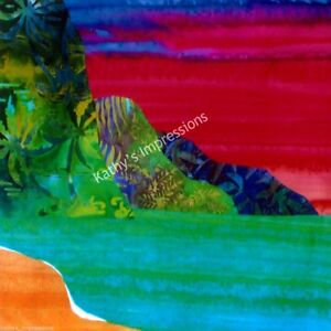 Details About Red Beach Sunset Fabric Quilt Square Na Pali Coast Mountains Kauai Hawaii Panel