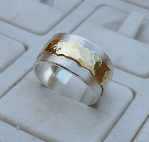 Details Zu Ring Silberhochzeit Silber Gold Handarbeit Gr 64 10 5mm Breit Ungetragen