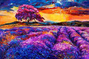 "art painting  print purple blue modern abstract landscape sunset 24/"" Australia"