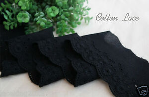 14Yds-Broderie-Anglaise-cotton-eyelet-lace-trim-2-4-034-6cm-Black-YH865-laceking