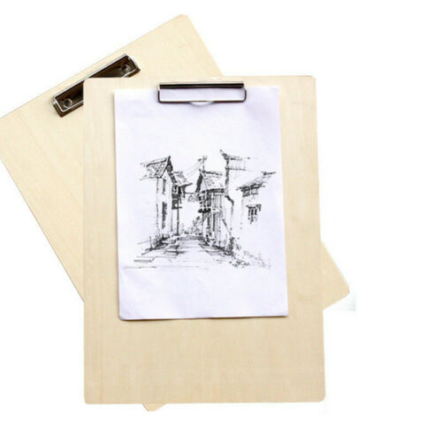"""8K Portable 12/""""x17/"""" Artist Class Field Sketch Wood Drawing Board Painting Clip"""