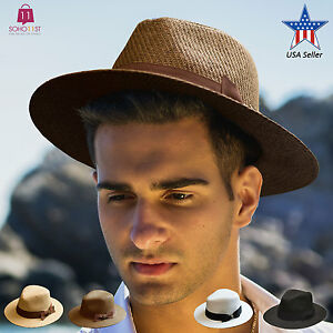 38ba2a6fea1 Mens Summer Wide Brim Straw Fedora Hat Indiana Jones Style Panama ...