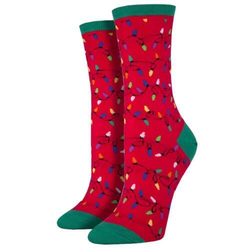 Socksmith Women/'s Crew Socks Holiday Christmas Lights Red Novelty Footwear