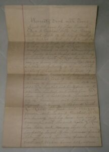 Hand written land deed,1890,Georgetown OH, Ruth L. Rees from M. Sells, Ralph Lee