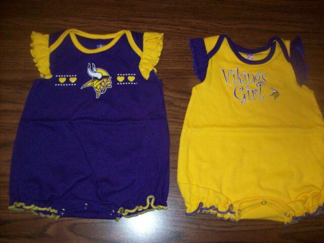51bdd62cd Baby Girl NFL MINNESOTA VIKINGS 2 Homecoming Bodysuits - Sz 0 - 3 Months  New NWT