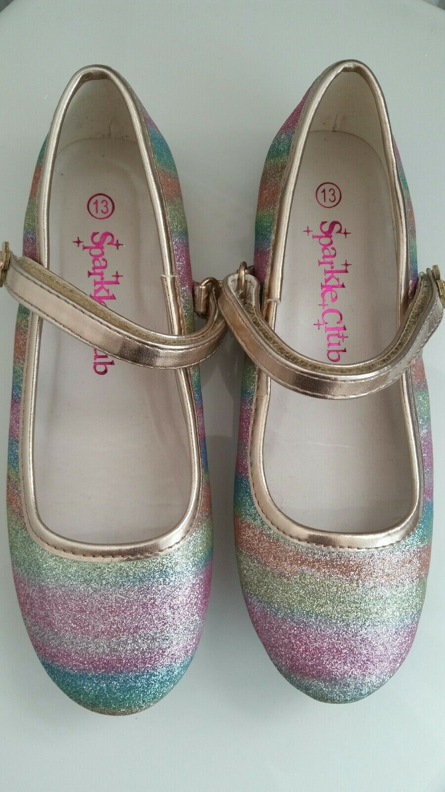 Girl Rainbow Sparkle Club Shoes Size 13
