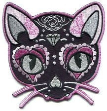 MARTINI PINK CAT by miss cherry IRON-ON EMBROIDERED PATCH **FREE SHIP** -y ph535