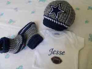 purchase cheap bcd6e f575f Details about Crochet Dallas Cowboys Baby hat, booties and Personalize  Bodysuit (0-3m, 3-6m)
