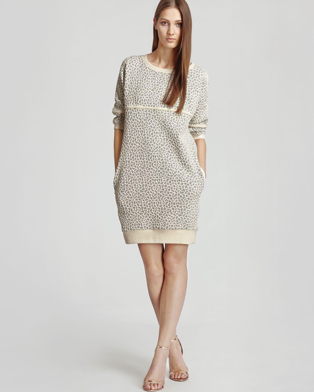 REISS REISS REISS Women's Grey Ribbed Cuff Hem Knit Textured Jaden Sweat Shirt Dress Size 4 85b39c