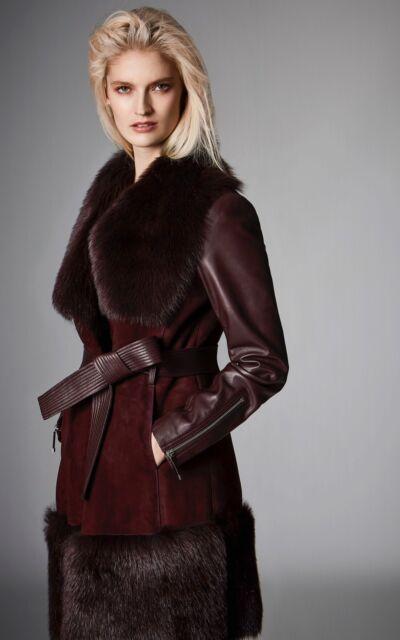57be57461f Karen Millen Oxblood burgundy Toscana Shearling Coat UK 6 8 10 *new with  tags*