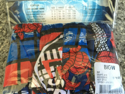 BNIP Boys Sz 4-6 Pack of 4 Spiderman Print 100/% Cotton Classic Briefs Underpants