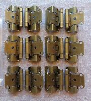 Set 6 Pair (12 Hinges) Partial Wrap Self Closing Cabinet Hinge 1/2 Overlay