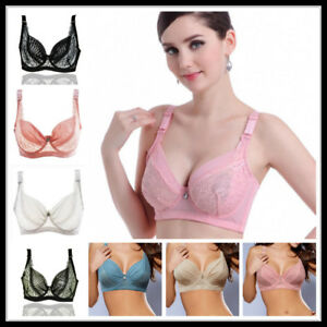 0554d98b4928d Women Ultra Thin Transparent Push Up Bra Sexy Lace Plus Size Big Cup ...