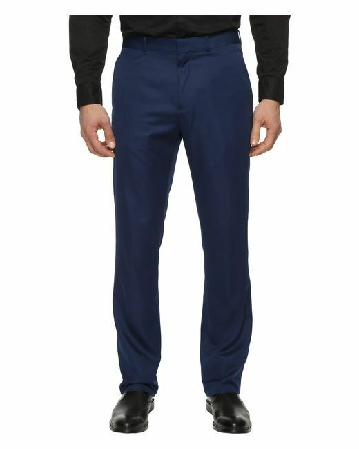 PERRY ELLIS PORTFOLIO men blueE SLIM FIT FLAT FRONT DRESS PANTS 32 W 32 L