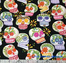 Alexander Henry De Los Muertos Sugar Skull Mini Calavera Black Fabric