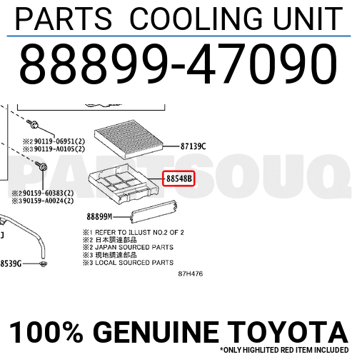 Toyota Parts Online >> 8889947090 Genuine Toyota Parts Cooling Unit 88899 47090