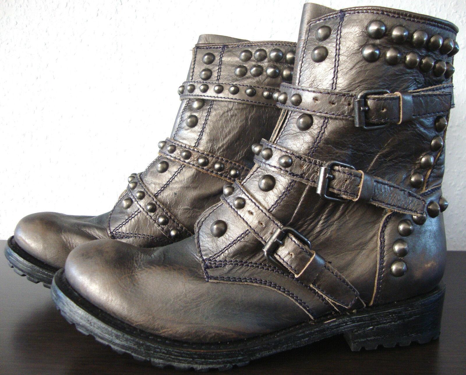 ASH Damen REESE Biker Stiefel Damen ASH Stiefelette Stiefel Leder Schuhe Nieten Gr.39 NEU 78ac6e