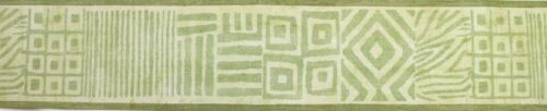 ATLAS 13.5cm x 5m Wallpaper BORDER Textured ABSTRACT Shapes Lines GREEN African