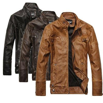 2016 NEW Fashion Men's Leather Motorcycle Coats Jackets Washed Leather Coat