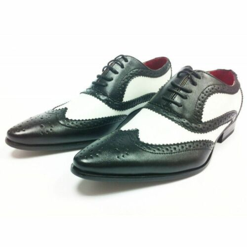 Gangster Uomo Lace bianca Size Leather Up scarpe nero nero Spats Brogues Look 8 Party qrrYdf
