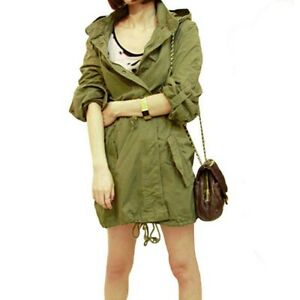 Womens Winter Warm Army Green Military Parka Trench Hooded Coat ...
