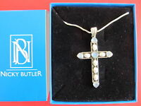 Nicky Butler Pearls Moonstone Multigemstones Cross Necklace Look More.. Mg