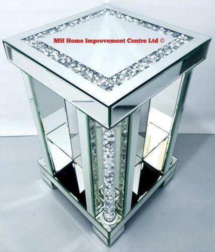 Square Silver Miroir Fin Lampe de table brillant tubulaire Diamond Crush Cristal défaut