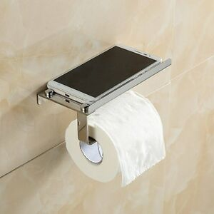 wall mounted bathroom towel rack toilet paper roll holder with shelf silver ebay. Black Bedroom Furniture Sets. Home Design Ideas