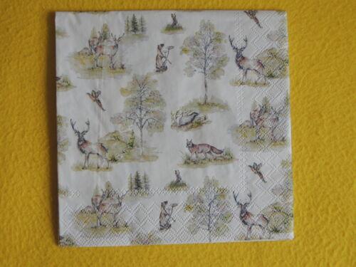 20 Servietten WOODLAND Wald Tiere 1 Packung OVP Rehe Hirsche Fuchs kleine Motive